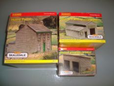 A group of Hornby Skaledale buildings as lotted Home Farm House, Cattle Shed and Machine Store -