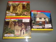 A group of Hornby Skaledale cottages as lotted - appear unused - Excellent, Good boxes (3)