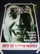 """TASTE THE BLOOD OF DRACULA (1970) - Christopher Lee US (60"""" x 40"""") - Rolled. Good to Fine"""
