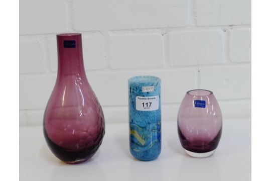 Gozo Art Glass Vase Together With Two Caithness Glass Vases 3