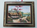 Lot 4 - Framed Picture of Vietnamese Scene Depicting a Cottage by a River
