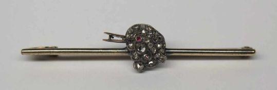 """Broche barrette """"oiseau"""", ancienne.(long. 5.5 cm, poids brut: env. 4.9 g). En or jaune 750, le"""