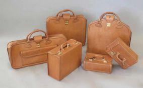 SCHEDONI pour FERRARI.Ensemble de six bagages.En cuir, couleur Havane, comprenant: - une valise