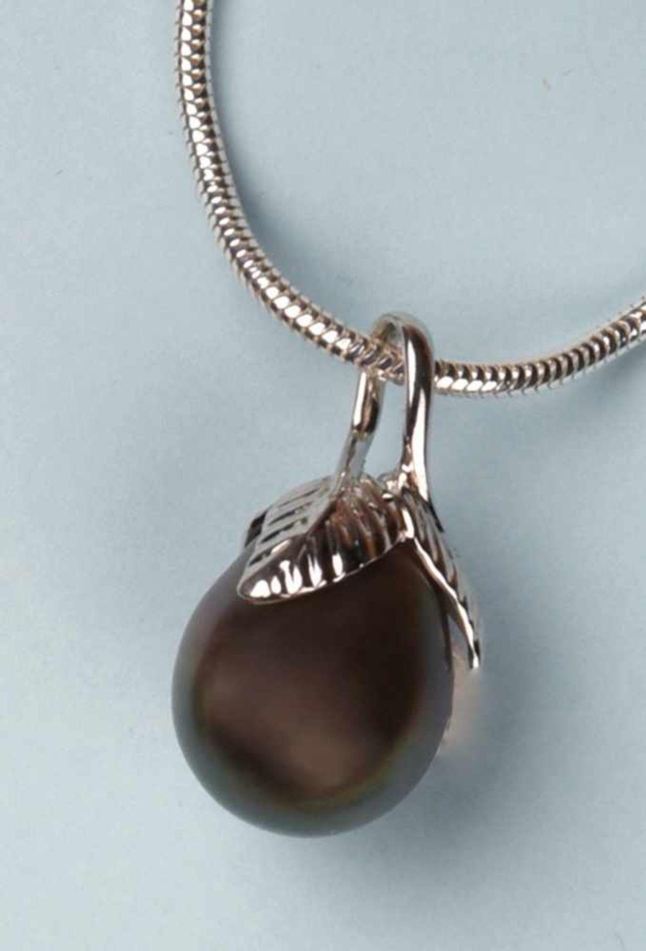 """Collier en argent 925, mailles """"serpent"""", avec pendentif perle de culture grise. Longueur: env. 41"""