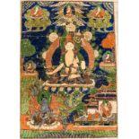 DER BODHISATTVA SITATAPATRAThangka-Malerei auf Gewebe. Tibet, ca. 1. H. 20. Jh. Sitatapatra nimmt