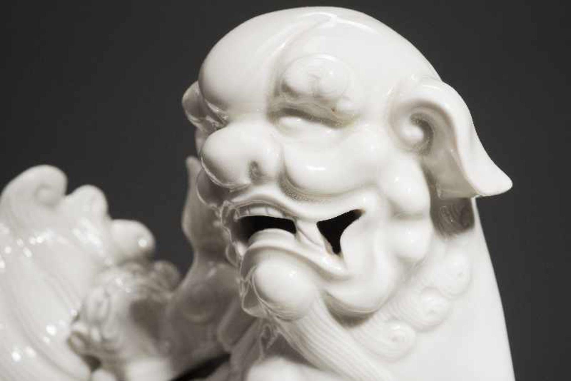 PAAR PALASTLÖWEN AUF SOCKELNBlanc de Chine-Porzellan aus Dehua und Holz. China, Qing 18. Jh. Zwei - Image 2 of 9