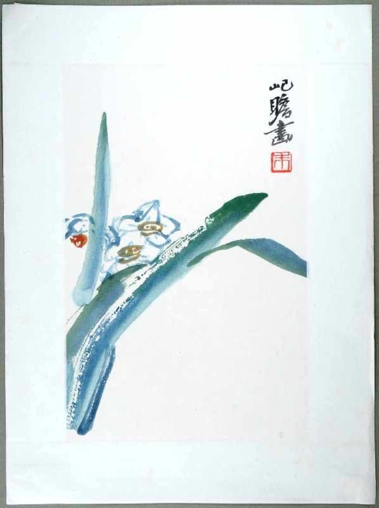 Zhu Jizhang (20. Jh.) Aquarellfarben-Holzschnitt. China, 20th cent. Darstellung einer Narzisse mit