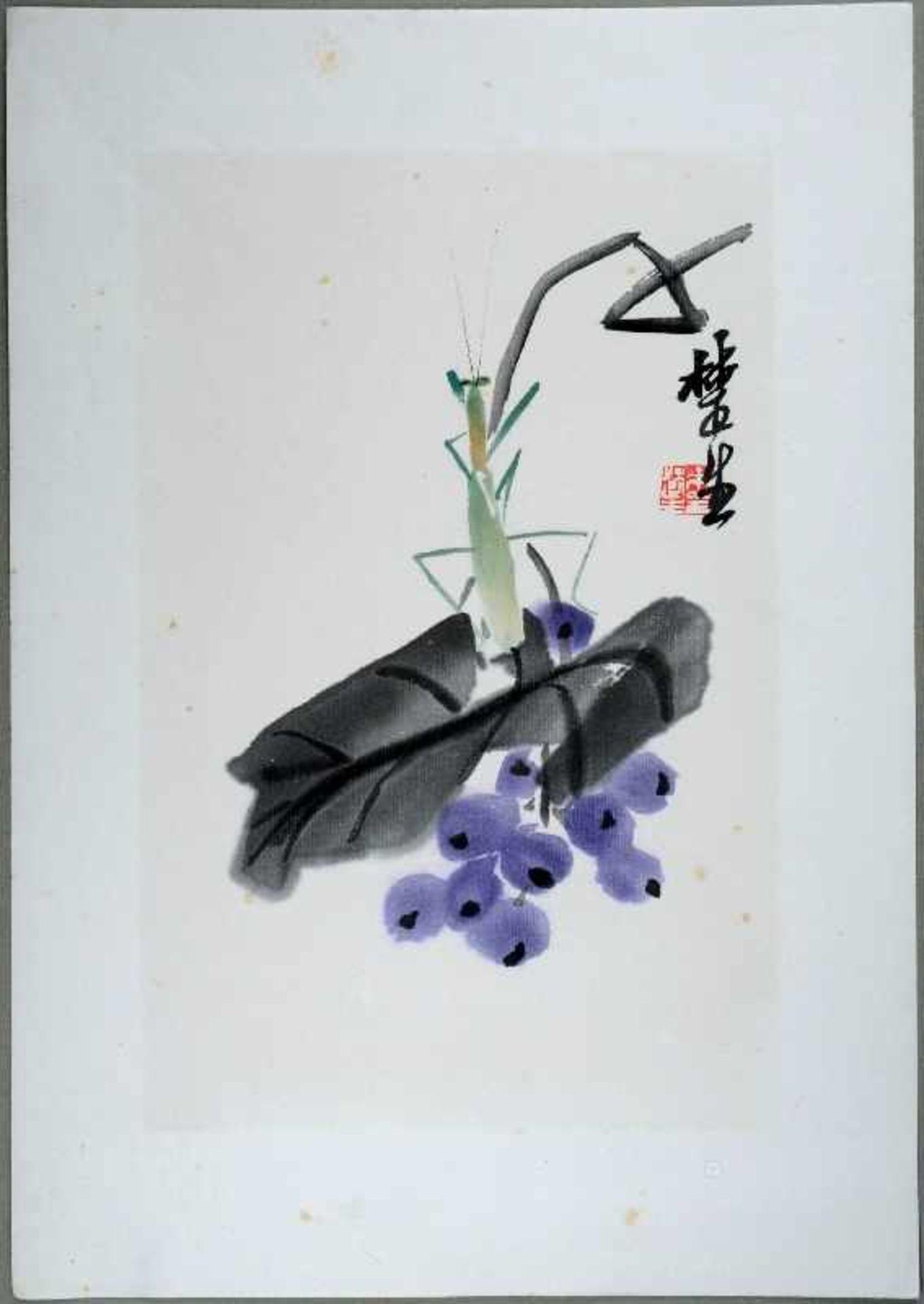 BLAUE FRÜCHTE UND GOTTESANBETERIN Aquarellfarben-Holzschnitt aus der Werkstätte Rong Baozhai-