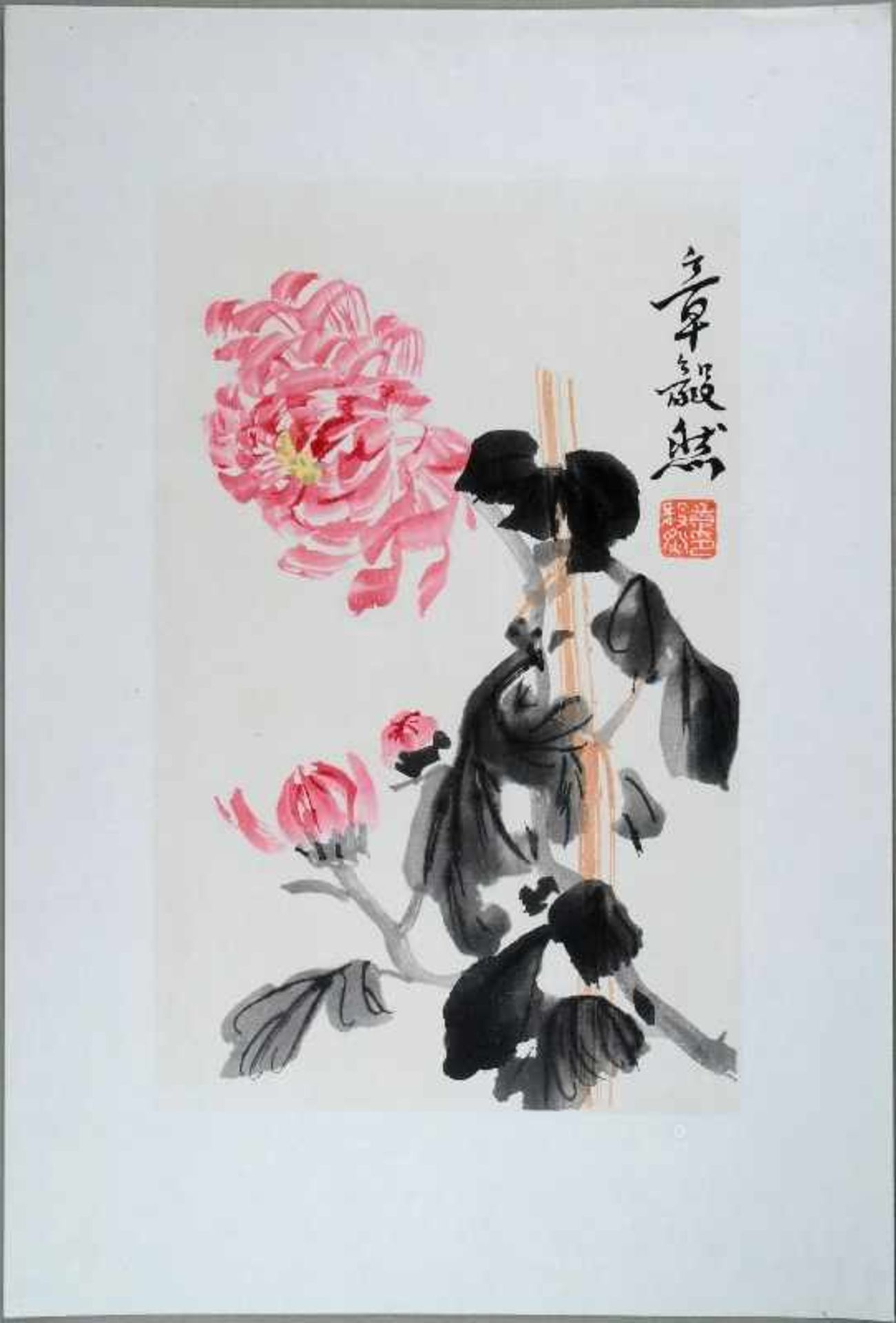 Zhan Yiran (20. Jh.) Aquarellfarben-Holzschnitt. China, Zhan Yiran (20. Jh.) Darstellung einer
