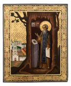 *Hl. Tichon von Kaluga Russische Ikone, nach 1880 26,5 x 22 cm Der Heilige lebte als Einsiedler in