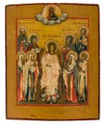 *Hl. Schutzengel mit Rostover Heiligen Russische Ikone, 1. Hälfte 19. Jh. 32 x 26,5 cm In der