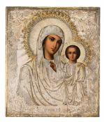 *Gottesmutter von Kasan Russische Ikone, Ende 19. Jh., mit Silberoklad, Moskau 1889