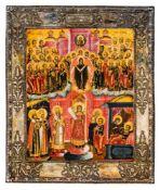 *Gottesmutter Pokrov Russische Ikone, um 1800, mit Silberbasma, Petersburg 1815 Beschaumeister: