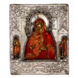 *Gottesmutter Donskaja Russische Ikone mit Silberoklad, 18. Jh 10 x 8,3 cm Am Rande sind der hl.