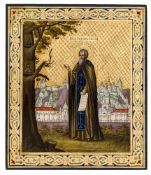 *Hl. Tichon von Kaluga Russische Ikone, nach 1880 31 x 26,5 cm Provenienz: Polnische