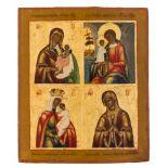 *Vier Gottesmutter-Darstellungen Russische Ikone, um 1850 26,5 x 22,5 cm Abgebildet sind die