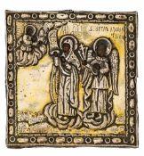 *Gottesmutter mit Schutzengel Russische Ikone mit Silberoklad, um 1800 10,5 x 10,5 cm Der