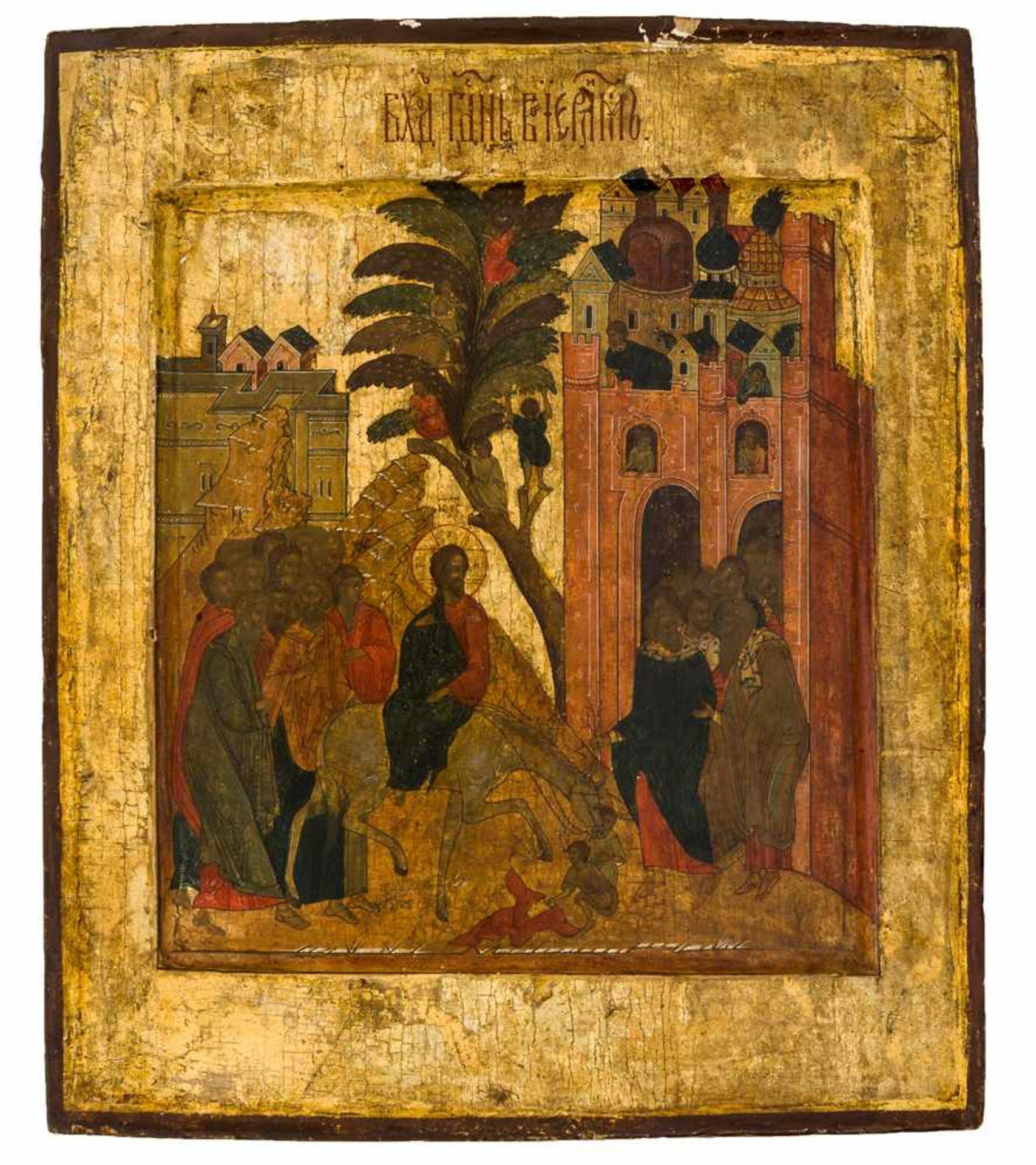 *Einzug Jesu in Jerusalem Russische Ikone, 19. Jh. 31 x 26 cm Provenienz: Belgische Privatsammlung