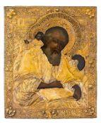 *Hl. Evangelist Johannes Russische Ikone mit vergoldetem Silberoklad (333 g), 18. Jh. 36 x 29,5 cm