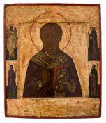 *Hl. Nikolaus Russische Ikone, spätes 16. Jh. 37,5 x 32 cm In der beiliegenden Expertise vom