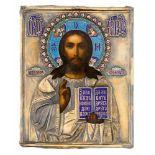 """*Christus Pantokrator Russische Ikone, um 1900, mit Silberoklad, Moskau 1896-1908 Meister: """"S.G."""" in"""