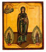 *Hl. Paraskeva die Jüngere Moldavische (?) Ikone, um 1900 29,5 x 25 cm Unten links ist der hl.