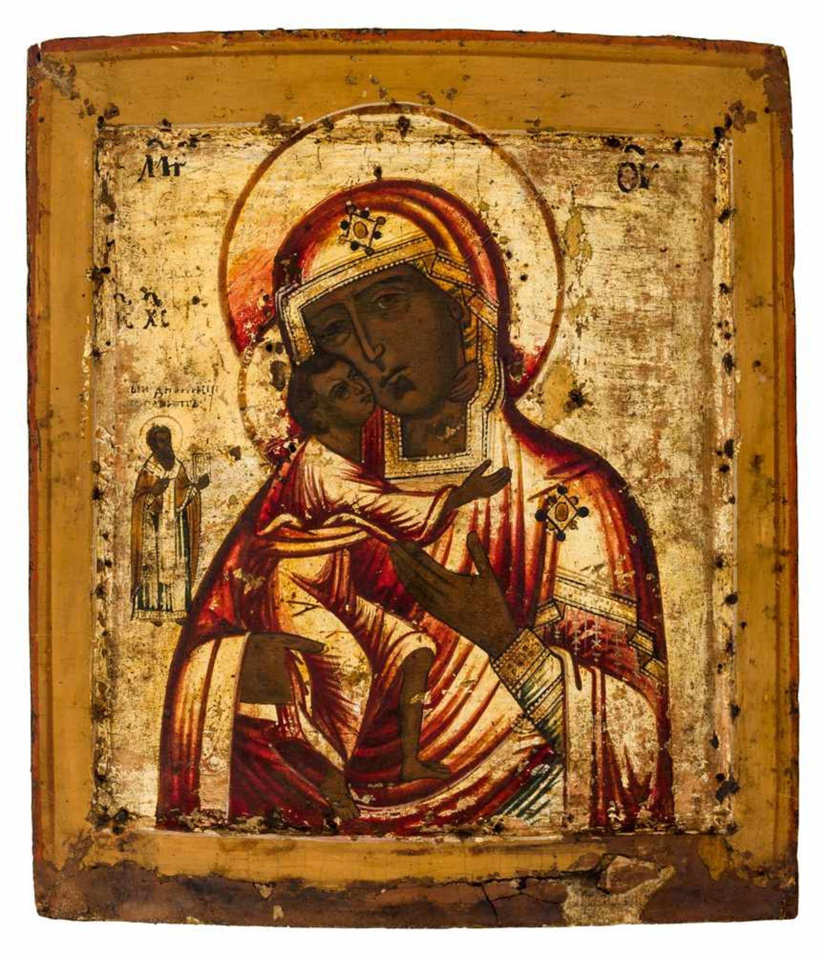 *Gottesmutter Feodorovskaja Russische Ikone, 1. Hälfte 19. Jh. 32 x 27,5 cm Der Heilige links ist