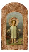 *Jesuskind mit den Symbolen der Passion Russische Ikone, Ende 19. Jh. 26,7 x 15 cm Provenienz:
