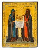 *Hl. Antonij und Hl. Feodossij vom Kiever Höhlenkloster Russische Ikone, um 1900 17,8 x 13,8 cm