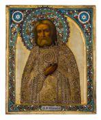 """*Hl. Seraphim von Sarov Russische Ikone, um 1903, mit Silberoklad, Moskau (?) 1896-1907 Meister: """""""