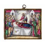 *Entschlafung der Gottesmutter Russisches Finifti (Rostov), 19. Jh. 7,5 x 6 cm Provenienz: