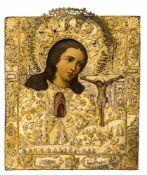 *Gottesmutter Achtyrskaja Russische Ikone mit vergoldetem Silberoklad (370 g), 18. Jh. 32,5 x 28,2