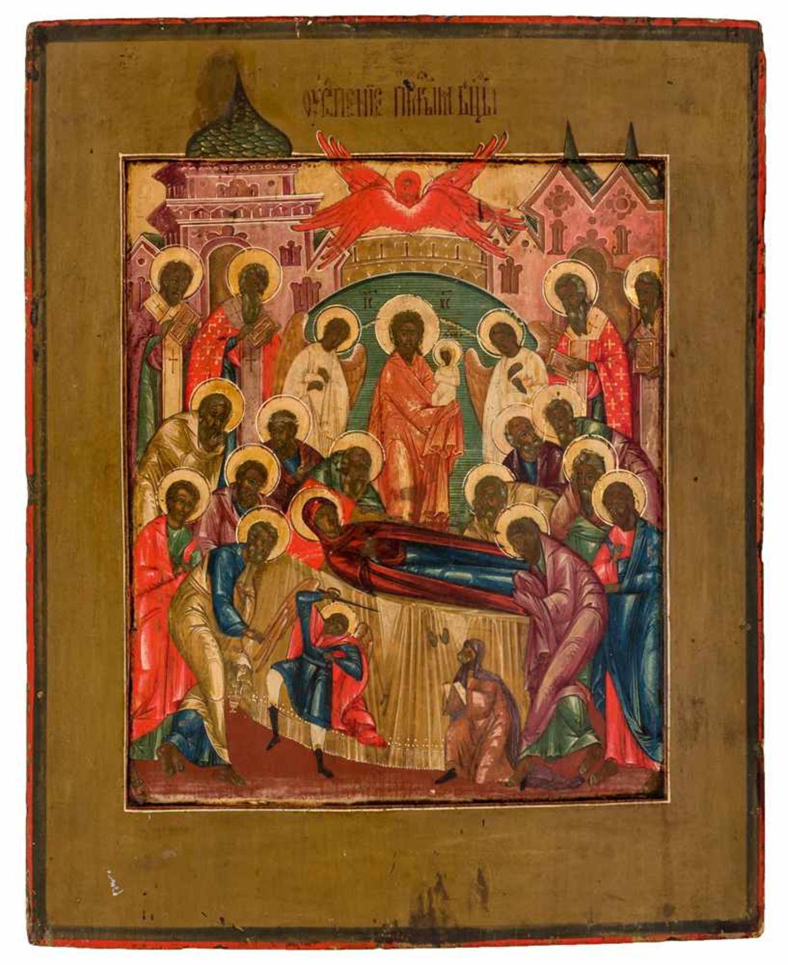 *Entschlafung der Gottesmutter Russische Ikone, Mitte 19. Jh. 34 x 27,5 cm Provenienz: Bayerische