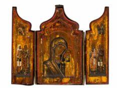 *Gottesmutter von Kasan Russisches Triptychon, 1. Hälfte 19. Jh. 9,9 x 12,5 cm (im geöffnetem