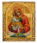 *Gottesmutter Pochaevskaja Russische Ikone, um 1900 13,2 x 11 cm Nach der Legende erschien im