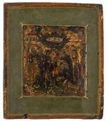 *Die Gottesmutter erscheint dem hl. Sergius von Radonesh Russische Ikone, Ende 17. Jh. 20 x 17,5