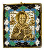 *Hl. Nikolaus Russische vierfach emaillierte Bronze-Ikone, 19. Jh. 11 x 9,8 cm Signiert vom