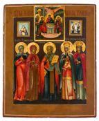 *Heilige Russische Ikone, 2. Hälfte 19. Jh. 34,5 x 28 cm Die Heiligen unten sind v.l.n.r.: hl.