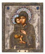 *Gottesmutter Eletskaja Russische Ikone, um 1900, mit vergoldetem Silberoklad (507g), Moskau 1896-