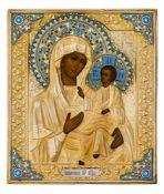 *Gottesmutter Iverskaja Russische Ikone, um 1900, mit vergoldetem Silberoklad (477 g), Moskau 1896-