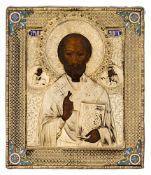 *Hl. Nikolaus Russische Ikone, 2. Hälfte 19. Jh, mit vergoldetem Silberoklad (486g), Moskau 1887