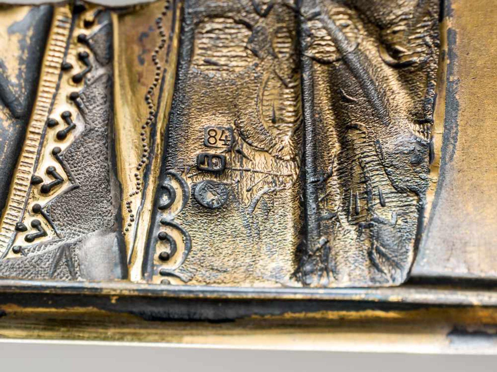 """*Christus Pantokrator Russische Ikone, um 1900, mit Silberoklad, Moskau 1896-1908 Meister: """"S.G."""" in - Bild 4 aus 4"""