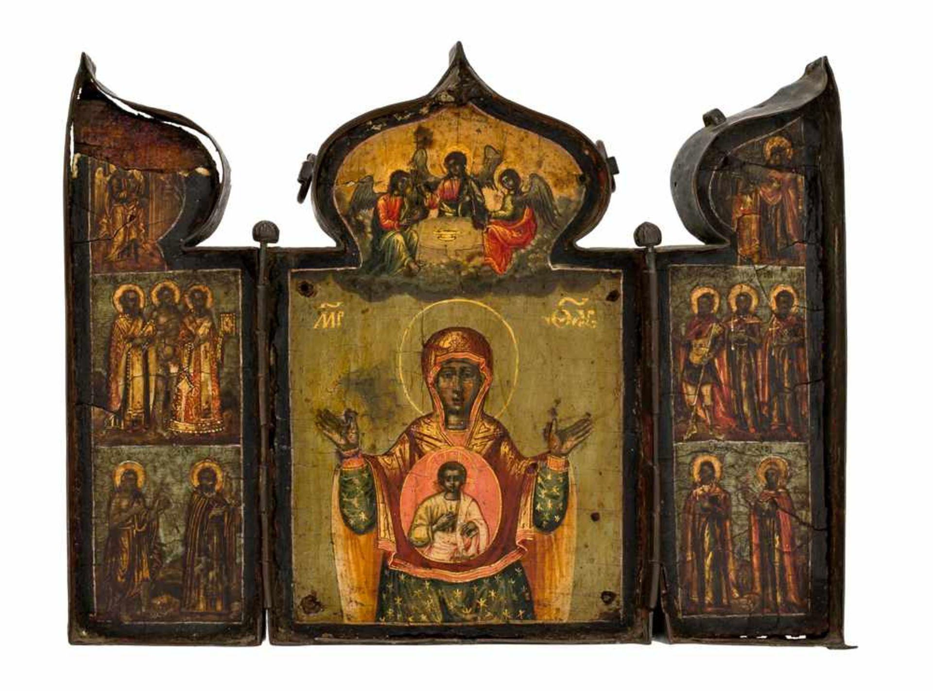 *Gottesmutter des Zeichens (Známenie) Russisches Triptychon, Ende 18. Jh. 14,3 x 19 cm (im