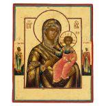 *Gottesmutter von Smolensk Russische Ikone, 1. Hälfte 19. Jh. 22,5 x 18,5 cm Am Rand sind der hl.