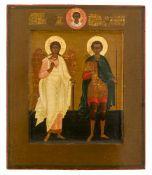 *Hl. Schutzengel und Hl. Demetrios Russische Ikone, um 1900 32,5 x 27 cm Provenienz: Belgische