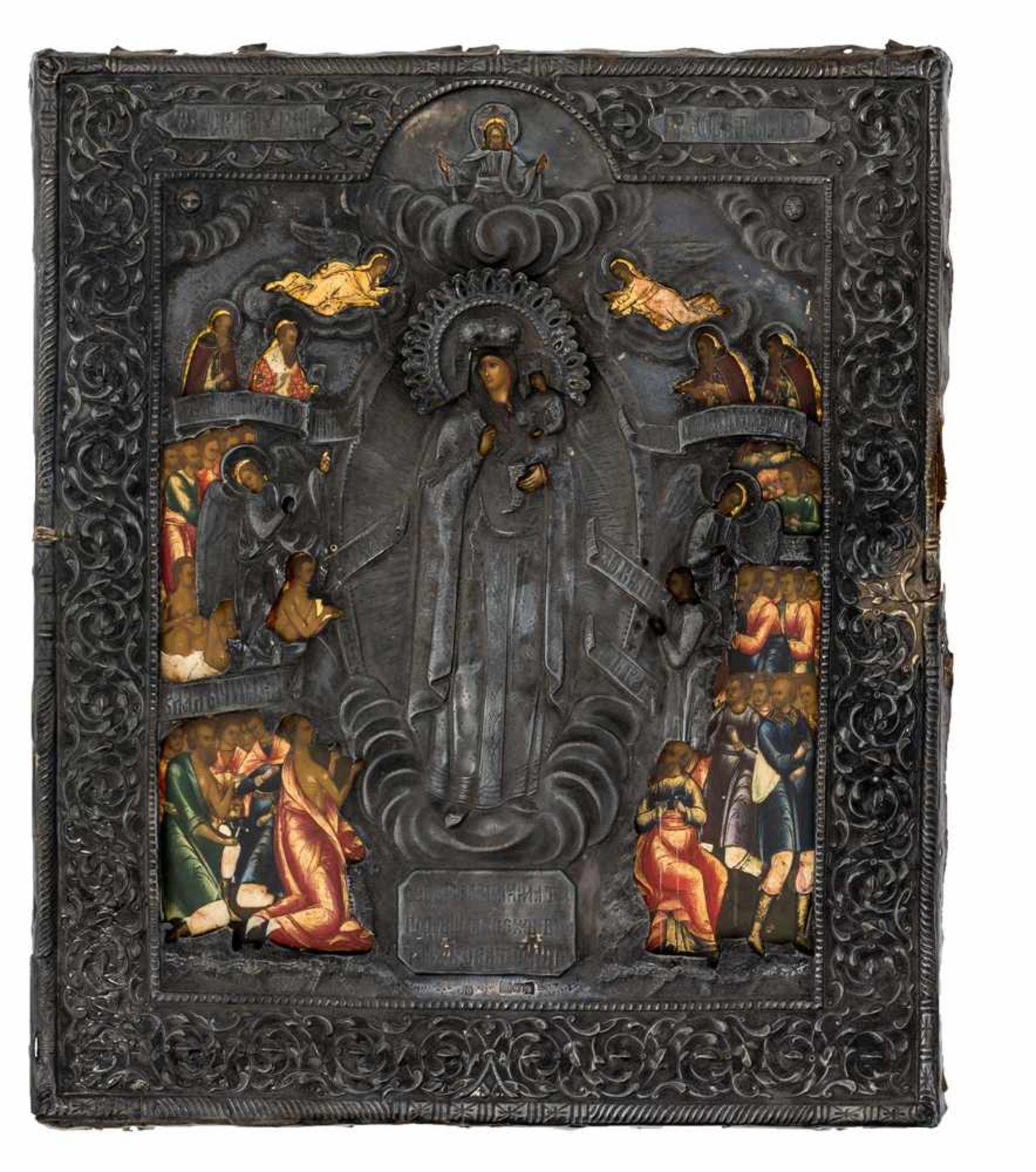 """*Gottesmutter """"Freude aller Leidenden"""" Russische Ikone, um 1850, mit Silberoklad (185g), Moskau 1867"""