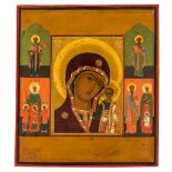 *Gottesmutter von Kasan Russische Ikone, Ende 19. Jh. 37,5 x 33 cm Am Rand sind links der hl.