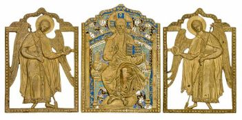 *Christus Pantokrator mit den Erzengeln Michael und Gabriel Russische Bronze-Ikonen, 19. Jh. 22,5