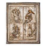 *Vier seltene Gottesmutter-Darstellungen Russische Ikone mit Silberoklad, kurz nach 1800 19 x 15,5