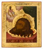 *Das Haupt des hl. Johannes des Vorläufers Russische Ikone, nach 1880 35,5 x 31 cm Das abgeschlagene